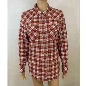Levi's Red Plaid Pearl Snap Button Down Shirt XL